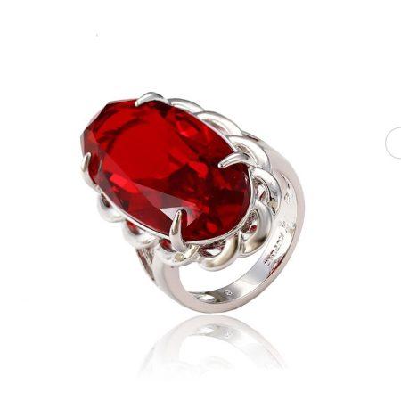 Extra nagy köves ezüst-ródium gyűrű