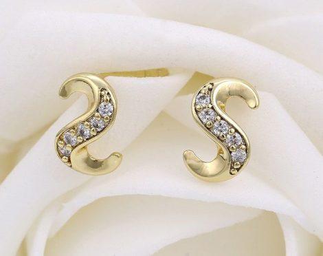 """""""S"""" alakú fülbevaló fehér kövekkel"""