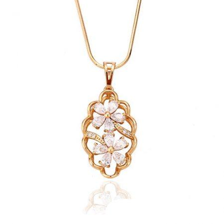 Dupla virágos aranyozott medál