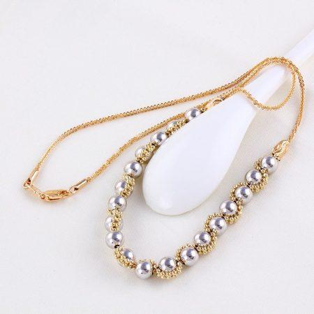 Gyöngy díszítésű arany ezüst nyaklánc