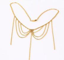 Többszálas láncos aranyozott nyaklánc