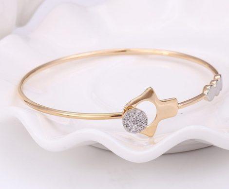 Különleges mintázatú szolid strasszköves arany ezüst karperec