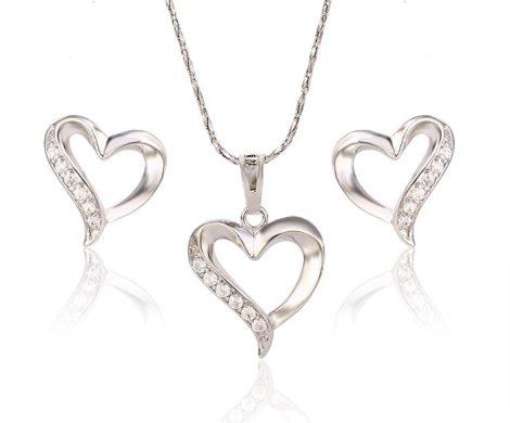 Cuki szívecske pici strasszköves ezüst-ródium szett
