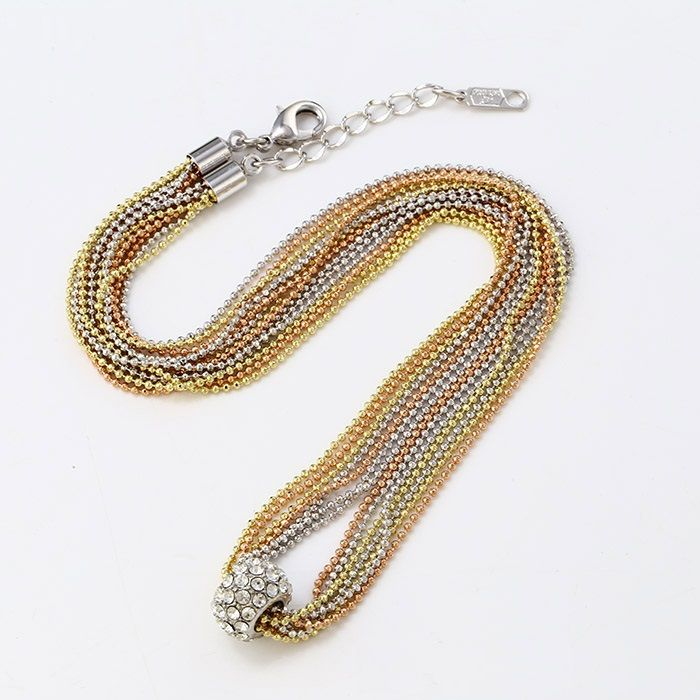 Többszálas nagy gyűrű díszítésű arany ezüst nyaklánc