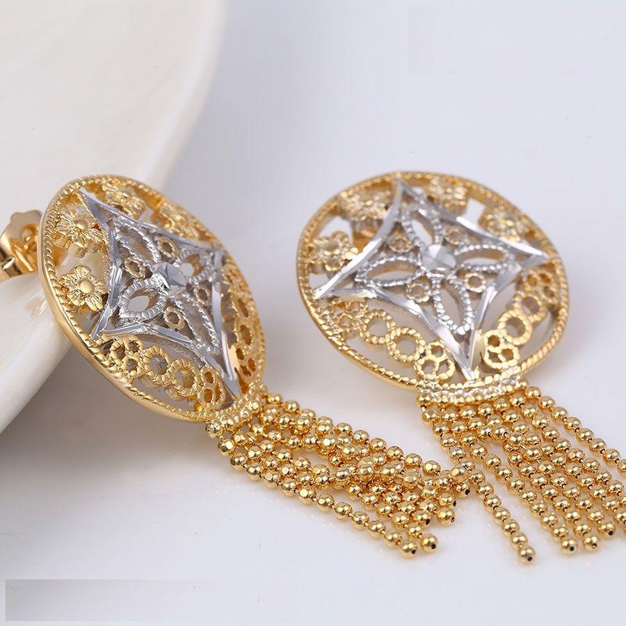 Áttört mintájú karika többszálas lógó gyöngysoros arany-ezüst fülbevaló